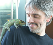 John Hamilton, children's book illustrator with chameleon