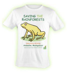 Exclusively designed t shirt for Association Mitsinjo by Susan Newman, founder of Frogs Are Green and illustrated by Mark Lerer.