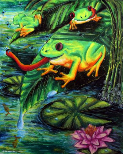 Honorable Mention, Fatahillah Faisal Rizqiawan, Indonesia, Frogs Are Green Kids Art Contest ages 10-12