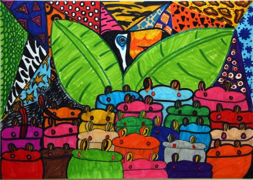2nd Place Winner, Doga Tansug, Turkey, Frogs Are Green Kids Art Contest ages 10-12