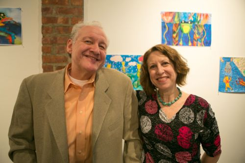 Thomas Tyburski and Susan Newman at the Green Dream - Save The Frogs Day event, The Distillery Gallery in Jersey City. Photo by Danny Chong.