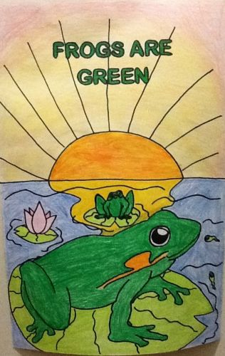 2nd Place Winner, Dhanayra Lara, MS #7, Jersey City, NJ, USA, Frogs Are Green Kids Art Contest, Best Typography
