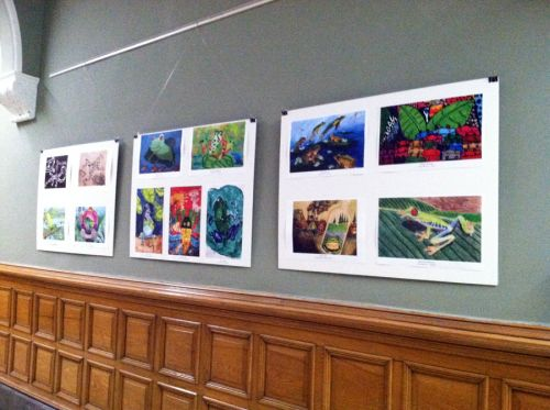 International frog art by students ages 3-16 inside Jersey City's City Hall Rotunda May 2015