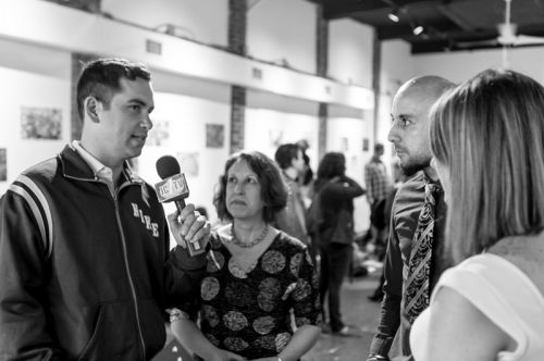 Mayor Steven Fulop discusses engaging children through art and self-expression at the Green Dream - Save The Frogs Day event, The Distillery Gallery in Jersey City. Photo by Danny Chong.
