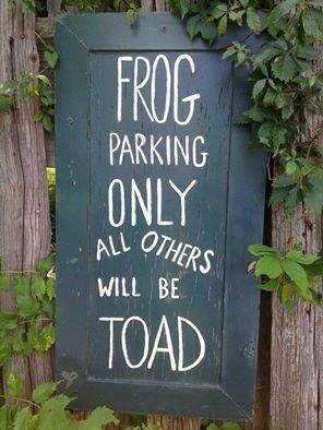 Frog parking only, all others will be toad