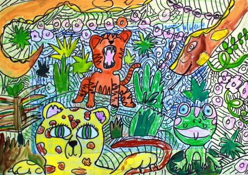 Tiger. Ivanenko Sofia, 9 years old. Kazakhstan, Almaty, School of Art and Design. Kasteeva, teacher Kuznetsov Yu.I