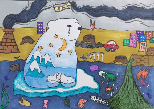 3rd Place - Zhuoran Zhang, 10 yrs, China, Polar bear's little wish, best art from China 2020