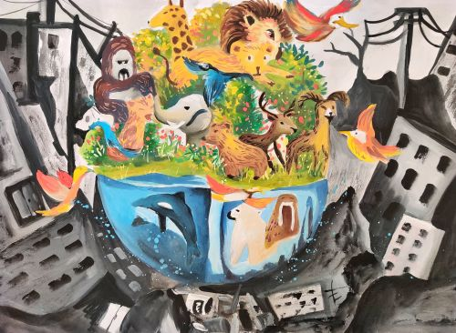 Chen Li Chih, 12 years old, Taiwan, China, Noah's Ark in the future, 3rd Place winner 2020