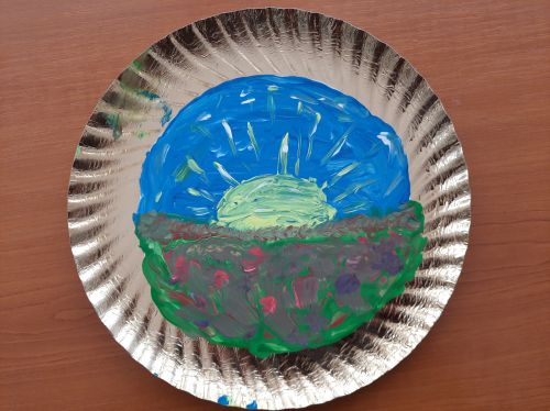 Cristina Pintilie, 14 years old, Romania, Earth Day 2020 art from recycled materials