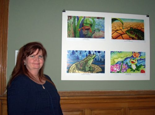 JCBOE Art Regional Manager, Ann Marley at Frogs Are Green City Hall Opening Reception