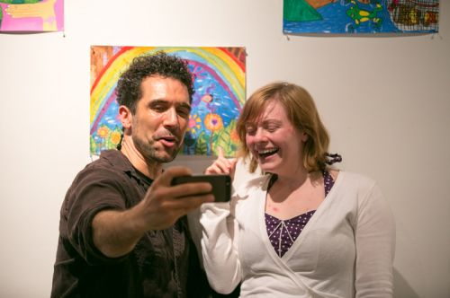 Kris Van Nest and Carolyn Light at Frogs Are Green's Green Dream - Save the Frogs Day event at The Distillery Gallery. Photo by Danny Chong.
