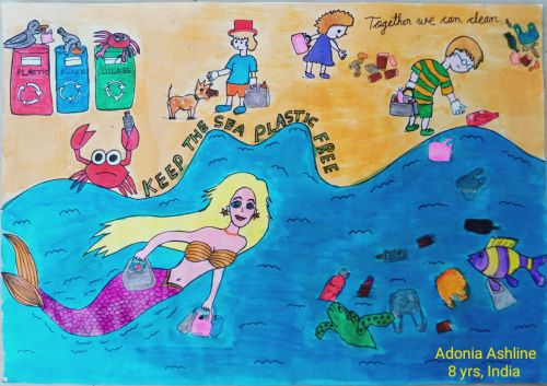 ADONIA ASHLINE, 8 yrs, India, keep our seas free from plastic, best environmental message 2020