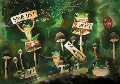 Honorable Mention, Cristina Maria Simion, Romania, Frogs Are Green Kids Art Contest, Ages 13-16
