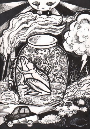 1st-place, Shitikova Yekaterina, 11 years old, Russia, Oryol, Ecological disaster, BW