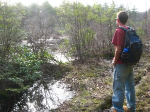 My son Jeremy listening to a chorus of spring peers, Surebridge Swamp, Harriman State Park, New York