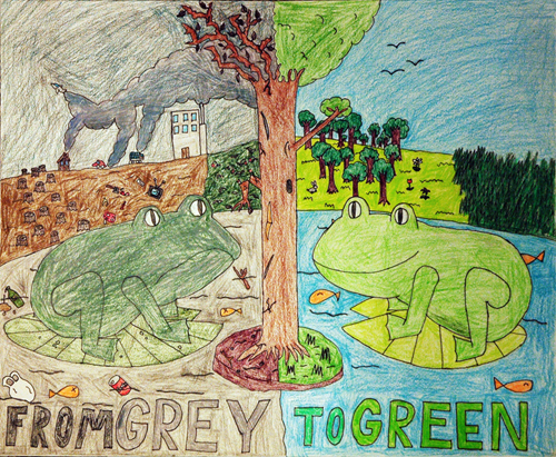 Winner of the Frogs Are Green kids art contest 2010, Michigan, USA, Age group 10-12