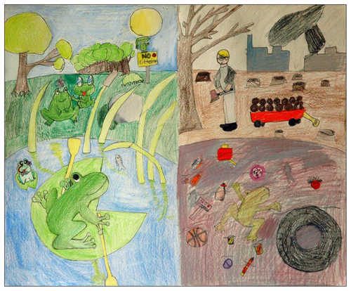 """Keep Green! Save Us!"" artwork by Elizabeth Xiong, 9 yrs old, Ann Arbor, MI."