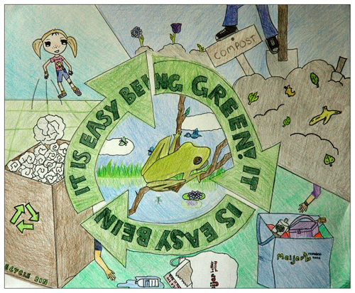 """It's Easy Being Green"" artwork by Kristine Zhou, 10 yrs old, Ann Arbor, MI."