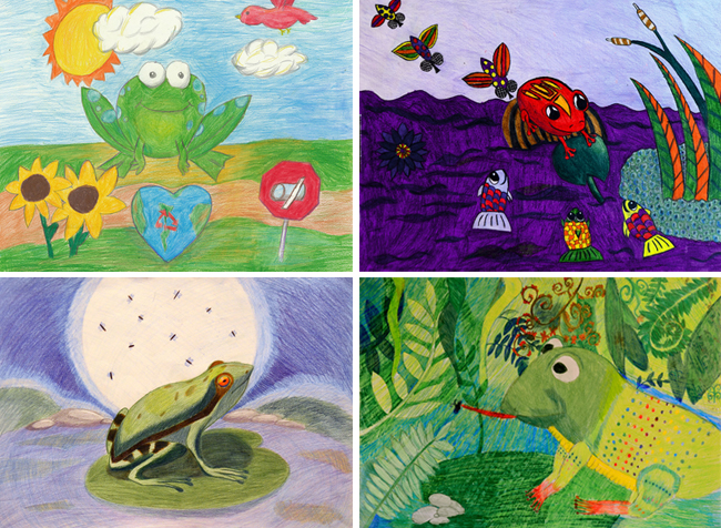 children's artwork of frogs from around the world