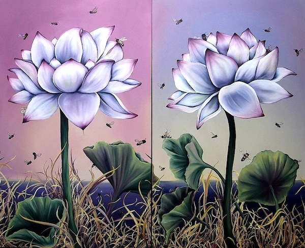 "Pollinate Me (lotus flowers with pollinating bees) 2014, Oil on Canvas, 60""x72"""