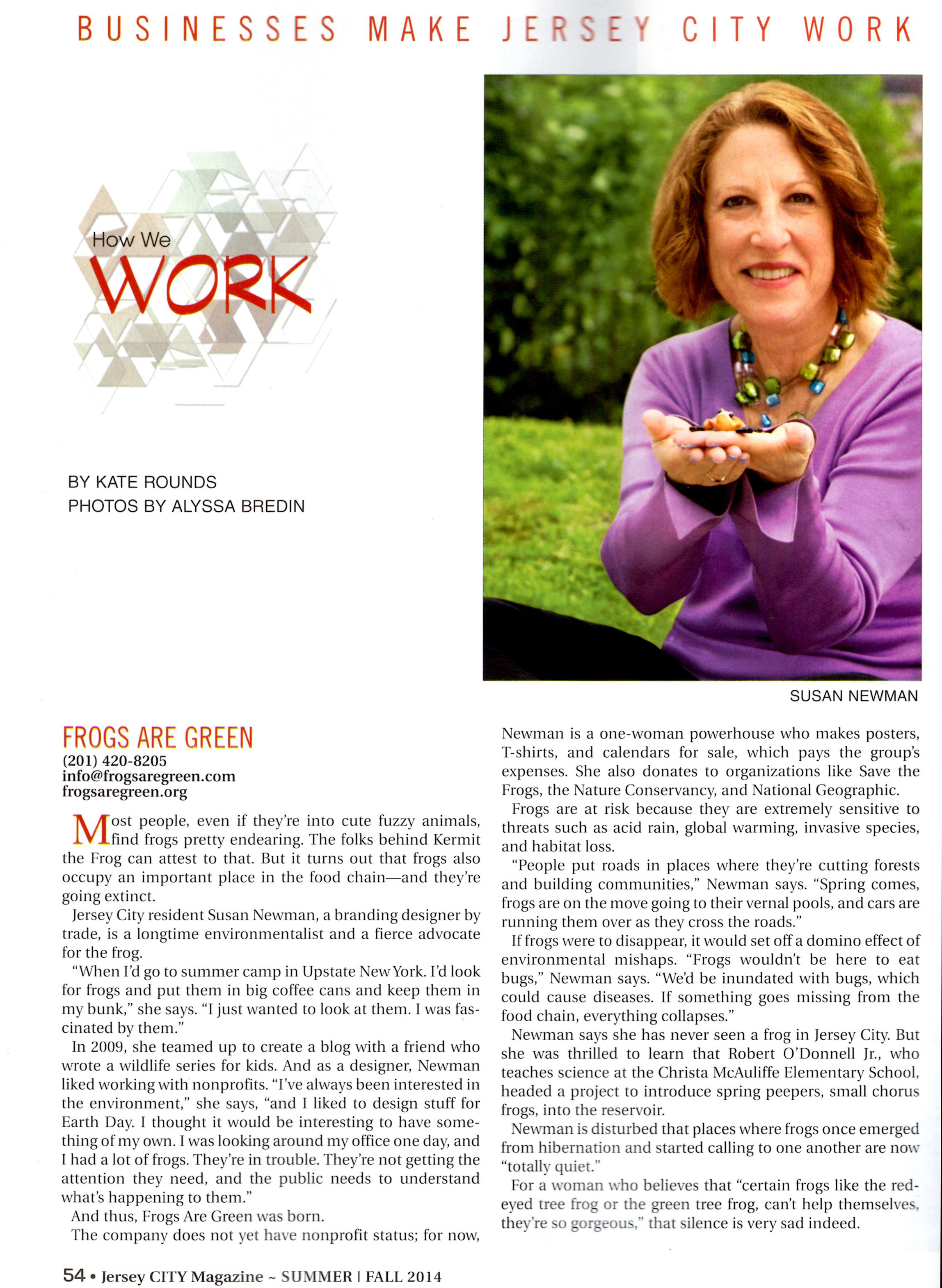 Susan Newman, founder of Frogs Are Green interviewed for Jersey City Magazine, Summer/Fall 2014 Issue