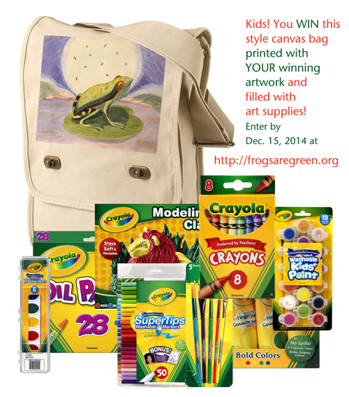 Kids Arts Contest 2014 win canvas bag printed with their artwork and filled with art supplies