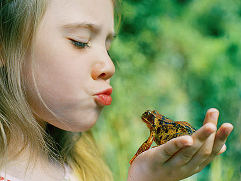 little girl and frog