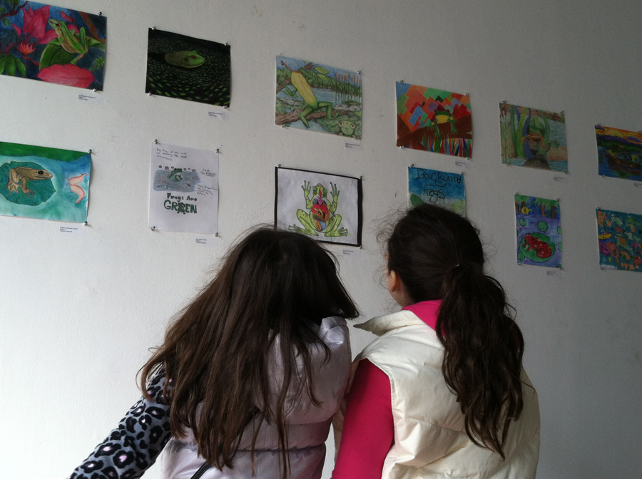 Two young girls admire frog art