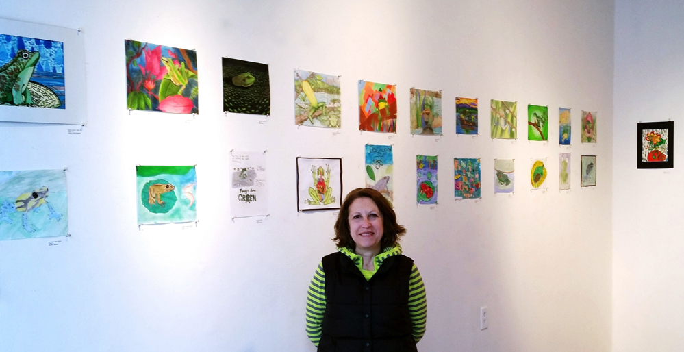 Susan Newman, founder of Frogs Are Green hosted original Jersey City student frog art exhibit at 58 Gallery.