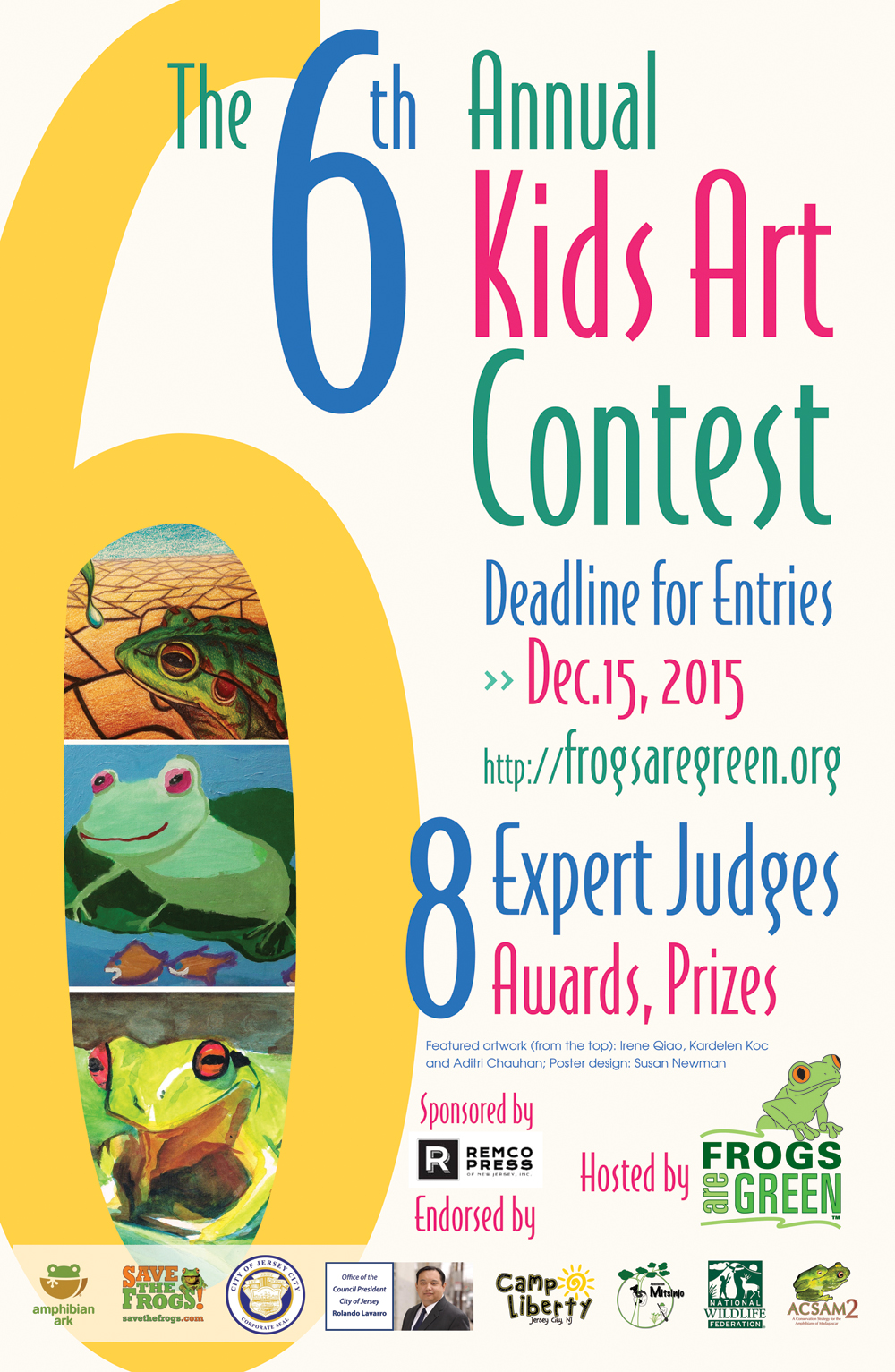 6th Annual Frogs Are Green Kids Art Contest poster for 2015