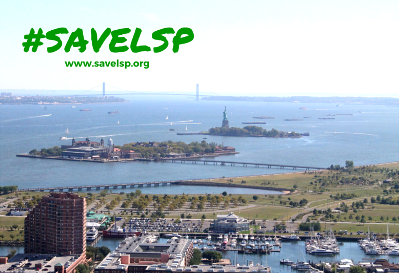 #SaveLSP Liberty State park aerial view with Miss Liberty
