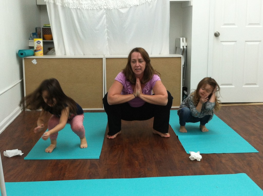 Peaceful Frogs (yoga) at Little Bee Learning Studio in Hoboken, NJ.