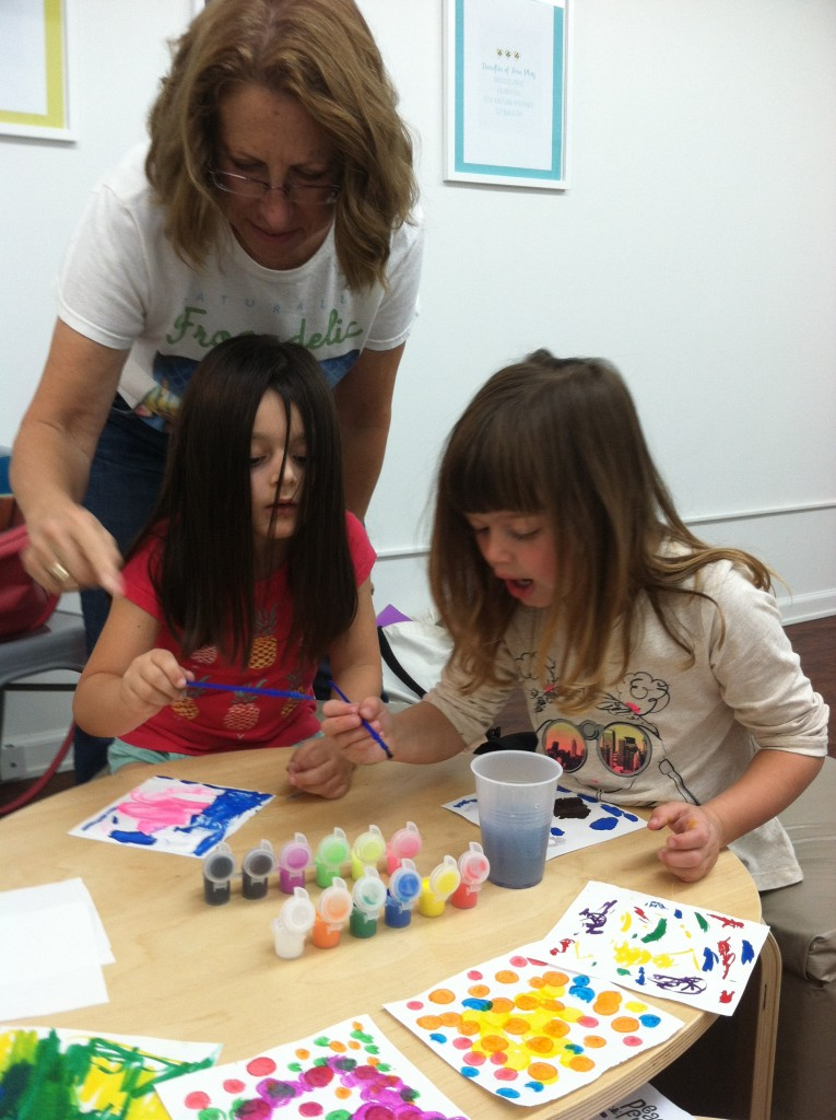Peaceful Frogs (art) at Little Bee Learning Studio in Hoboken with children ages 3-6.