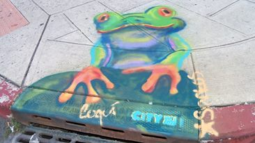 Red-eyed Tree Frog artwork for catch basin in Jersey City Heights.