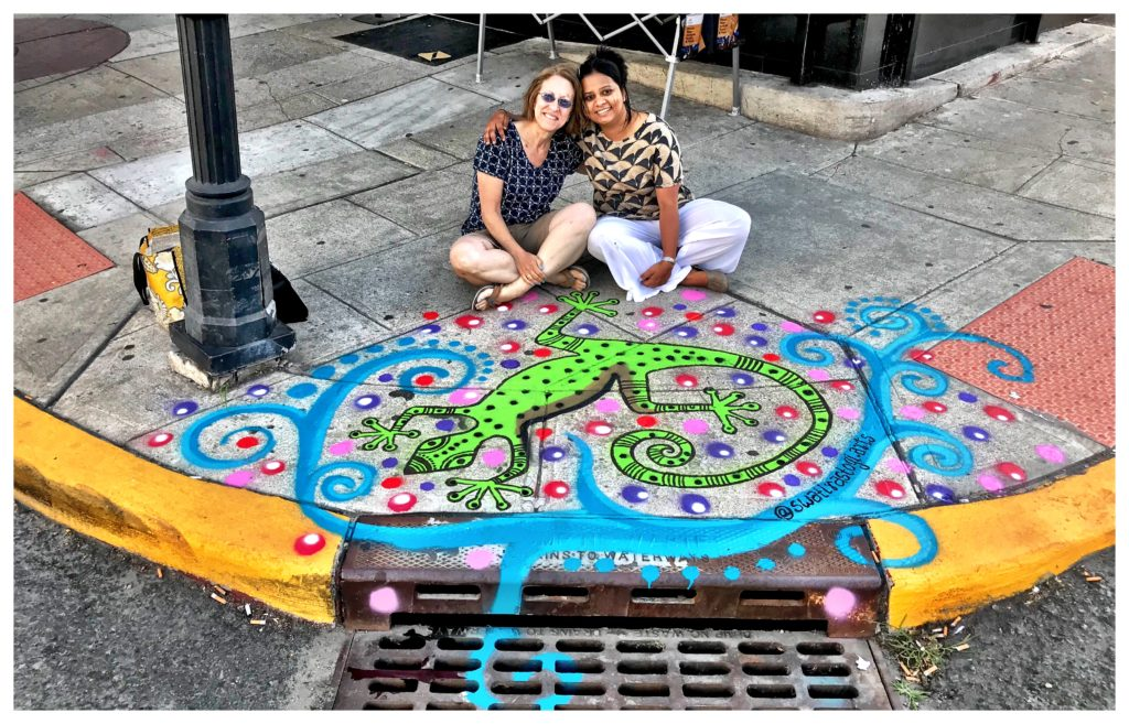 Swati Rastogi and Susan Newman salamander catch basin jersey city heights
