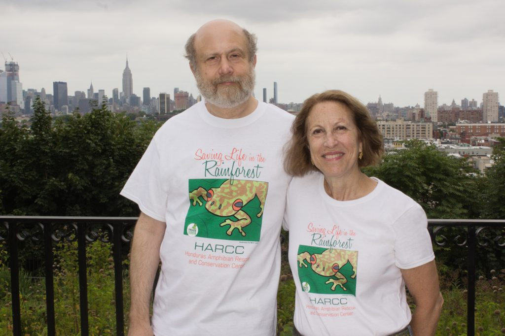 Mark Lerer, illustrator and Susan Newman wearing the new Frogs Are Green t-shirts to support HARCC. (Honduras Amphibian Rescue and Conservation Center).
