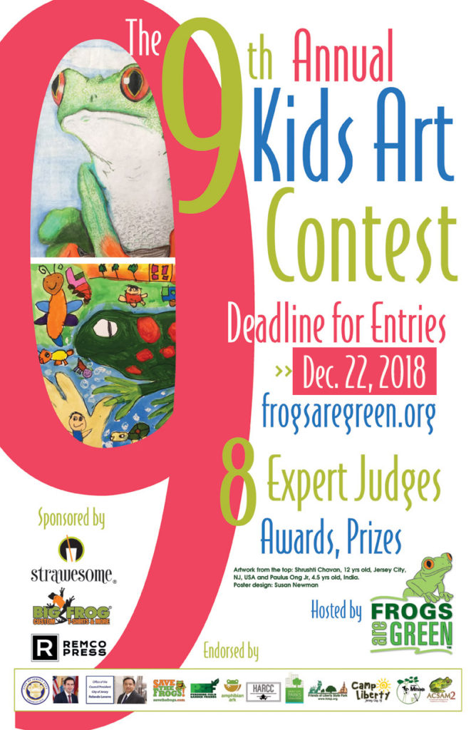 9th annual kids art contest hosted by Frogs Are Green. Theme: Saving life in the rainforest.