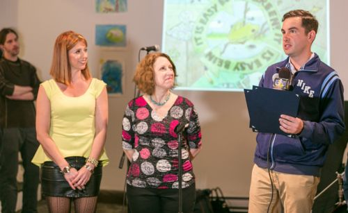 Proudly accepting our proclamation from Mayor Steven Fulop is Gabriel Pacheco, Susan Newman and Kristin DeAngelis at Frogs Are Green's Green Dream - Save The Frogs Day event at The Distillery Gallery in Jersey City. Photo by Danny Chong.