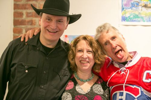 Gary Van Miert (Sensational Country Blues Wonders), Susan Newman (Founder of Frogs Are Green and Host), and Dave Case (Gully Hubbards) at The Distillery Gallery for the Green Dream - Save the Frogs Day event in Jersey City. Photo by Danny Chong.