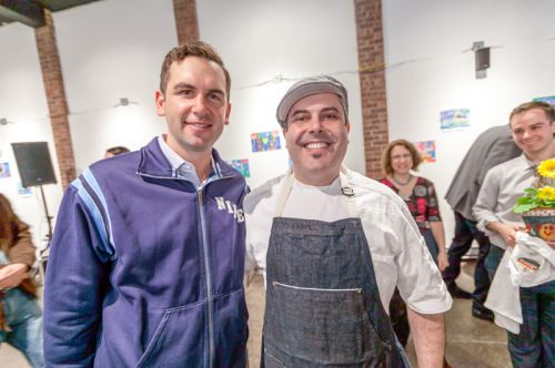 Mayor Steven Fulop of Jersey City and Chef Camillo Sabella at Frogs Are Green's Green Dream - Save the Frogs Day event at The Distillery Gallery. Photo by Danny Chong.