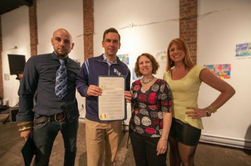 Gabriel Pacheco, Mayor Steven Fulop, Susan Newman and Kristin DeAngelis at Frogs Are Green's Green Dream - Save The Frogs Day event at The Distillery Gallery in Jersey City. Photo by Danny Chong.