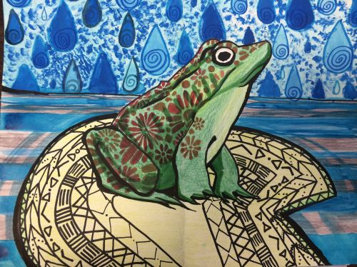 3rd Place Winner, Dayanna Franco, Liberty HS, New Jersey, Frogs Are Green Kids Art Contest, Ages 13-16