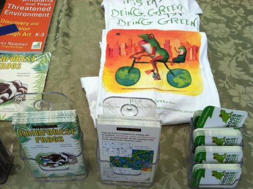 Frogs Are Green Tshirts and promotional materials for our forthcoming poetry book and coloring books.