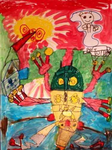 Honorable Mention, Liam Malinsky, Hoboken, New Jersey, Frogs Are Green Kids Art Contest 2014, age 3-6 group