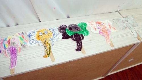 5-different-elephant-masks-by-children-at-Peaceful-Frogs-in-Hoboken