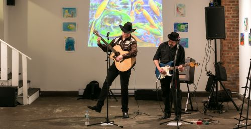 Gary Van Miert and Malcolm Marsden of The Sensational Country Blues Wonders play at The Distillery Gallery for Green Dream opening gala. Photo by Danny Chong.