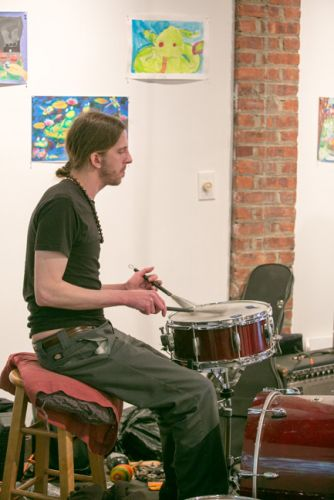 Andy Sapko on the drums for The Gully Hubbards at Green Dream's Save the Frogs Day event. Hosted by Frogs Are Green at The Distillery Gallery. Photo by Danny Chong.