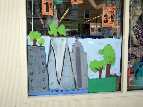 City of Trees window painting by JC student