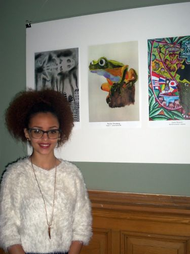 Jersey City Student Artist, Rachel Shneberg with her winning artwork in City Hall