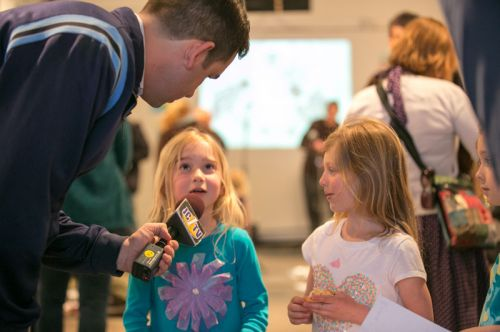 Mayor Fulop interviews children at Frogs Are Green's Green Dream - Save The Frogs Day event at The Distillery Gallery. Photo by Danny Chong.